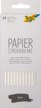 Folia papieren rietjes, ophangbaar doosje van 25 stuks, wit