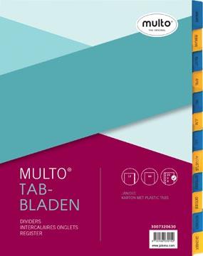 Multo tabbladen, voor ft A4, 23-gaatsperoforatie, uit karton, 12 tabs, jan-dec, geel/blauw