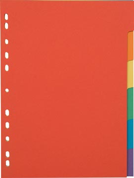 Pergamy tabbladen, ft A4, uit karton, 6 tabs, 11-gaatsperforatie, in geassorteerde kleuren