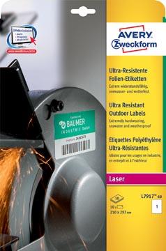 Avery ultra resistente etiketten voor buiten ft 210 x 297 mm (b x h), doos van 10 etiketten