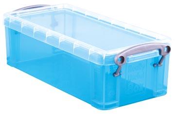 Really Useful Box 0,9 liter, transparant helblauw